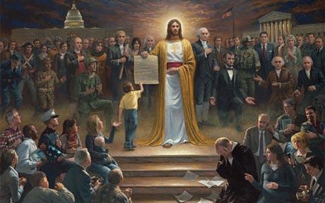 Jesus holding US Constitution