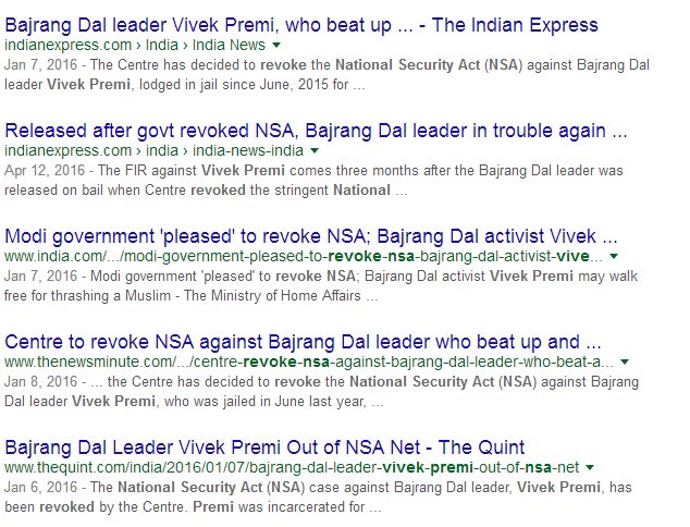English media awash with news about NSA being revoked against Vivek Premi