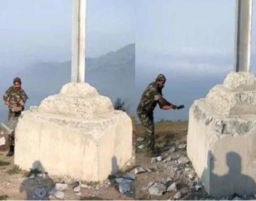 Illegal cross demolished